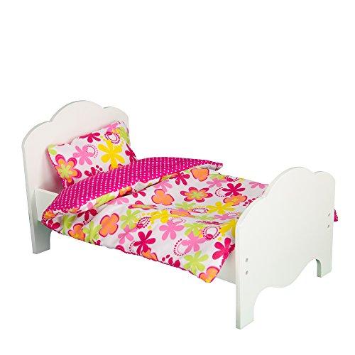 Olivia's Little World - Princess Classic Single Bed + 2 Bedding (Summer Flowers / Zebra Prints) | Wooden 18 inch Doll Furniture