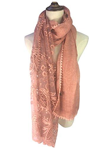 Your Smile Women Lace Stylish Warm Blanket Scarf Gorgeous Wrap Shawl  Pink