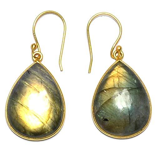 Nathis Labradorite Pear Shape Plated Bezel Dangle & Drop Earring For Women ()