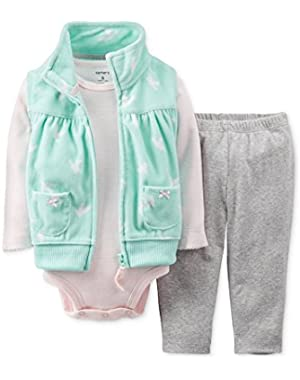 Carters Infant Girls 3 Piece Set Green Birds Vest Creeper & Leggings Outfit