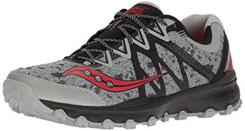 Saucony Men's Grid Caliber Tr Trail Runner, Grey/Black/Red, 10.5 M US