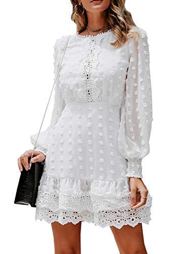 Fashiomo Women's Elegant Lace Chiffon Mini Dress Lantern Sleeve Ruffle Hem Party Dress White-1,M
