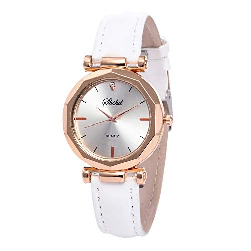 BeautyVan Fashion Analogue Quartz Ladies Watches Magnetic Mesh Band Dial Simulated Diamond Wrist Watches (White)