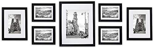 - Golden State Art, Wall Frames Collection, Black Wood Frame Set for Pictures/Photos, 7 Frames