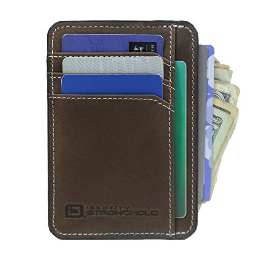 ID Stronghold Front Pocket Minimalist Slim RFID Wallet Premium Leather Small Size (Premium Brown Leather)