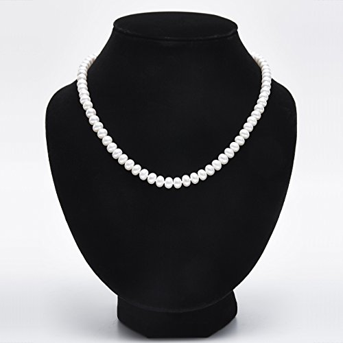 Double Strand 18' Sterling Necklace (Handmade Semi-Round Strand Necklace Freshwater Cultured White Pearl Sterling Silver Buckle 18'', AA)