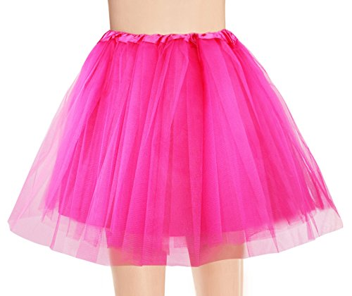 Women's, Teen, Adult Classic Elastic 3, 4, 5 Layered Tulle Tutu Skirt (One Size, 4Layer-DarkPink) -