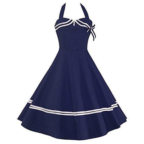 Samtree Women's Vintage Sailor Navy Style Party Cocktail Halter Swing Dress(M,Blue)
