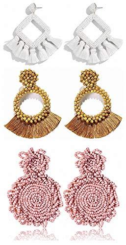 Lepida 3 Pairs Beaded Earrings Handmade Beaded Statement Hoop Earrings Boho Bead Tassel Drop Earrings Geometric Fringe Dangle Earrings for Women Girl Gift