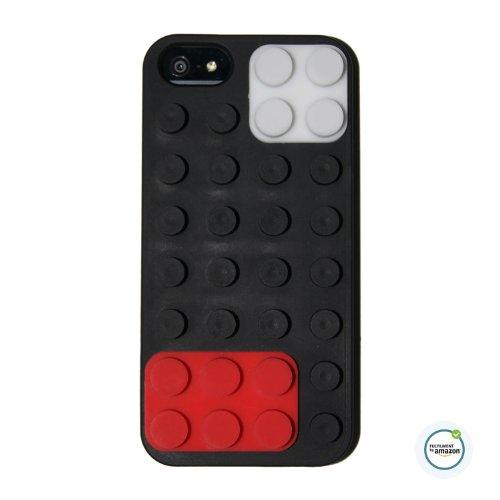 Couverture Lego iPhone 5 cas avec amovible brique Block a fait de silicone souple pour Apple iPhone 5 et iPhone 5s avec microfibre Cleaner (BLACK)