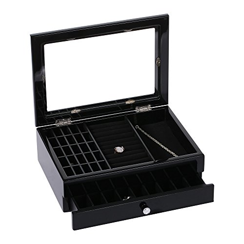 Ikee Design Jewelry Box Display Tray Show Case Storage Organizer/w Glass Top