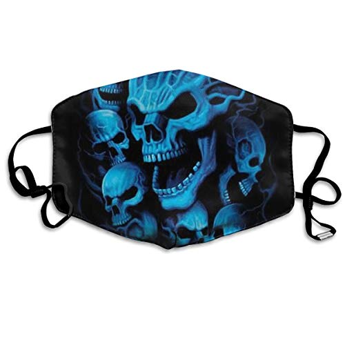 Mouth Mask Black and Blue Cool Skulls Earloop Mouth Masks - Adjustable Elastic Strap for Cycling Outdoor, Anti Virus Dustproof Respirator, Half Face Mouth Mask/Cover