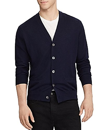 ede-Trim Merino Cardigan Sweater (Hunter Navy, M) ()
