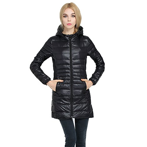 Caracilia Womens Plus Size Lightweight Packable Hooded Long Down Outwear Jacket   16 Plus   Black