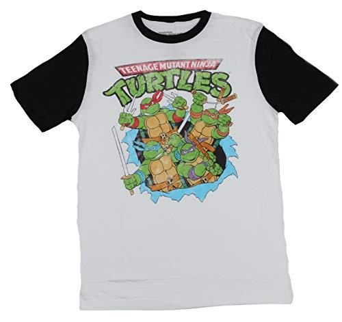 Teenage Mutant Ninja Turtles Mens T-Shirt - Boys Busting Through Ringer (Medium, White) ()