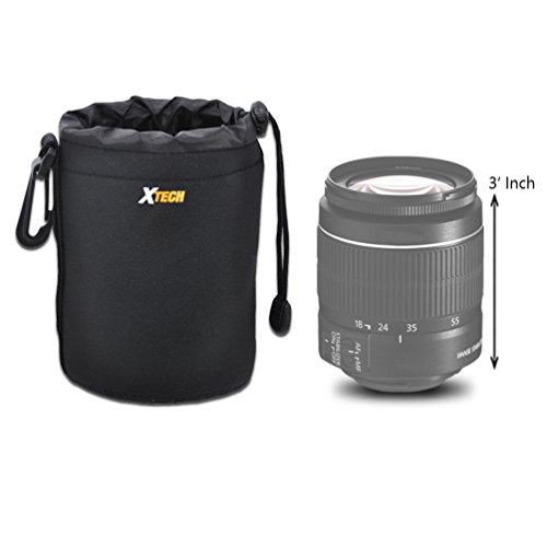 Xtech Small Soft Neoprene Lens Pouch for Canon EF 50mm f/1.8 STM Lens, Canon EF-S 24mm f/2.8 STM Lens, Canon EF 40mm f/2.8 STM Lens, Canon EF 50mm f/1.8 II Camera Lens and All Small Size Lenses
