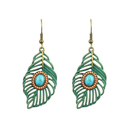 Fashion Earrings, gLoaSublim Vintage Women Openwork Carved Leaf Faux Turquoise Dangle Hook Earrings Jewelry - Green