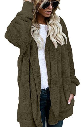 Elegante Abierto Fuzzy Invierno Chaquetas Verde Abrigos Cardigans Con Mujer Costes La Capucha Frente qCRfZw