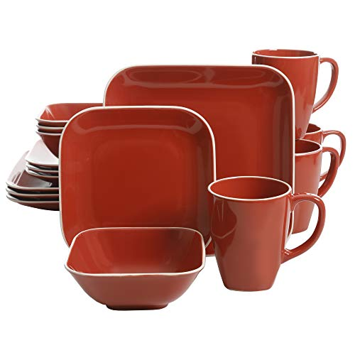 Piece 16 Square Set (Gibson Home Square Dance 16 Piece Dinnerware Set, Red)