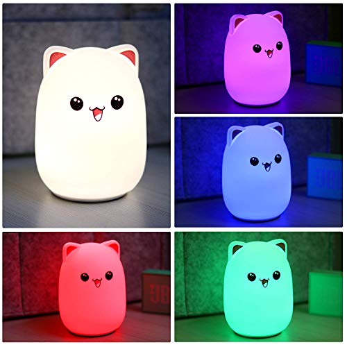 Cute Cat LED Nursery Night Light for Kids, Bedside Lamp for Breastfeeding, Safe Soft Silicone for Baby, Eye Caring LED, Tap Control, USB Rechargeable,6 Hours Runtime- 5 Color ()