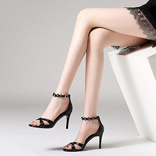 Correa Simples Toe De Black Cruzada Zapatos Tobillo Mujer De Sandalias Estilete De Hebilla 35 Alto De Tacón Flores Moda Verano Peep Correa 75qII6