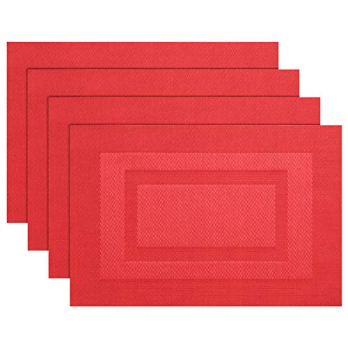 Pigchcy Placemats,Durable Placemats for Dining Table,Washable Woven Vinyl Kitchen Placemats Set of 4(18″X12″,Passionate Red)