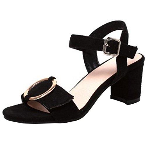 RAZAMAZA Mujer Moda Punta Abierta Correa de tobillo Sandalias Slingback Tacon Ancho Zapatos Negro