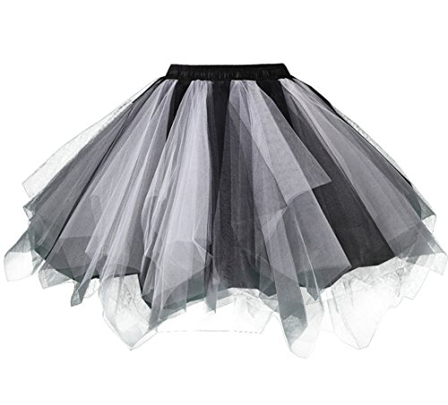 (Kileyi Womens Tutu Costume Adult Party Dance Tulle Skirt Short Fluffy Petticoat Black White)