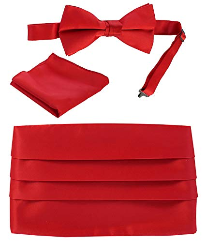 Red Cummerbund Set (Gioberti Kids/Boys' Adjustable Satin Cummerbund Set With Formal Bow Tie and Pocket Square, Red)