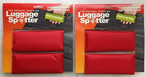 BUY ONE GET ONE FREE! Luggage Spotter RED Luggage Locator/Handle Grip/Luggage Grip/Travel Bag Tag/Luggage Handle Wrap (4 PACK) Matrix Source LSRED2