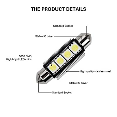 Justech 22PCs Can-Bus Error Free LED SMD Bulbs Kit Set Spare Parts for Car Interior Dome Map Door Courtesy License Plate Lights Festoon C5W T10 168 194 2825 Xenon-White: Automotive