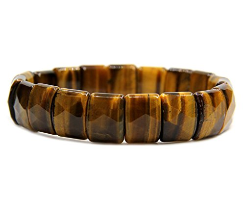 Amandastone A Grade Golden Tiger Eye Genuine Semi Precious Gemstone 15mm Square Grain Faceted Beaded Stretchable Bracelet 7