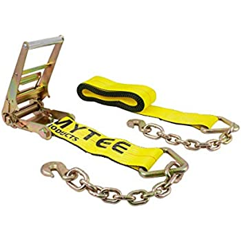 2 in Winch Strap with Chain Anchor Extension Flatbed Truck T 10 Pack x 30 ft