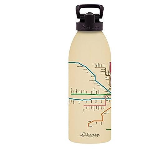 Liberty Bottleworks Chicago Mass Transit Aluminum Water Bottle Made in USA Liberty Bottle Works