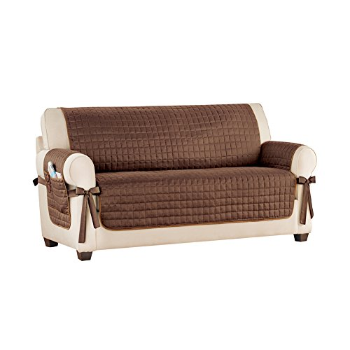 Collections Etc Classic Reversible Quilted Furniture Protector Cover with Pocket and Side Ties, Chocolate, Loveseat