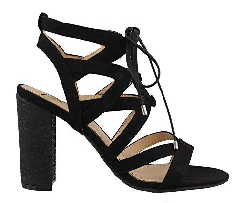 Madeline Open Toe Sandals - Madeline Brunette Women US 8 Black Sandals