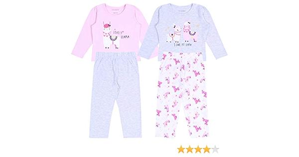 2 x Pijama Rosa y Gris de Llamas 3-4 Años 104 cm: Amazon.es: Ropa