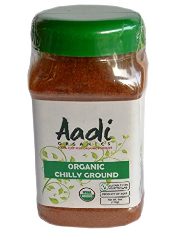 Aadi Organics - USDA Certified Organic Indian Chili Powder - 6oz / 170g per Wide Mouthed Bottle - Cooking, Kitchen Use, Flavoring Herbs and Spices - Stays Fresh