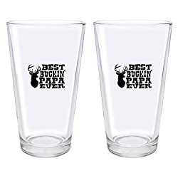 Christmas Gifts for Papa Best Buckin' Papa Ever Deer Hunting Gift Fathers Day Gifts for Papa Gift Pint Glasses 2-Pack Pint Glass Set Clear