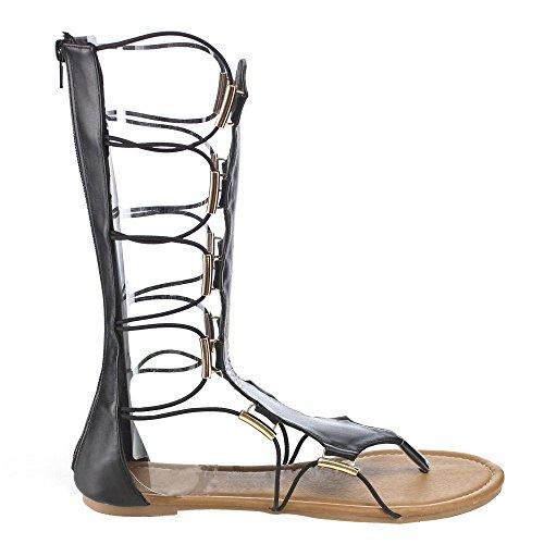 Scarpe In Pelle Scamosciata Blu Lille-tall-h Sandali Gladiatore Donna In Pelle Alto Tono Infradito, Colore: Nero, Misura: 7