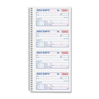 Tops Business Forms TOP4161 Money-Rent Receipt Book- Crbnls- 2-Part- 5in.x2-.75in.- 200-BK 7570617