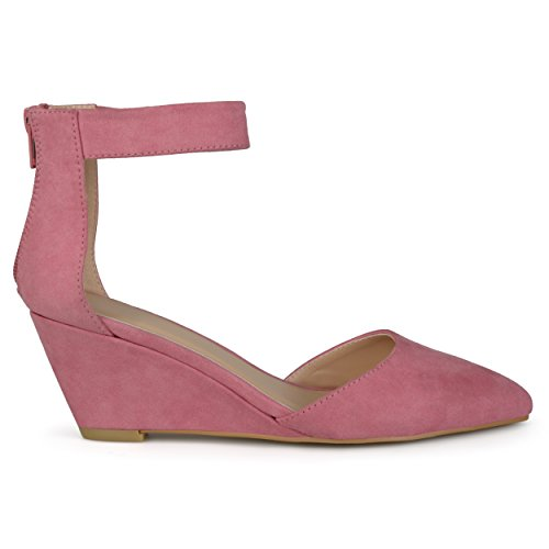 Brinley Co Women's Kameo Pump, Pink, 10 Regular US (Pink Wedge Heel)