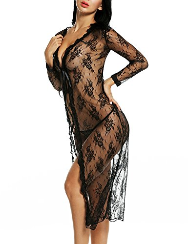 4eb70d8048 Avidlove Women Sexy Lingerie Lace Long Nightgown Long Sleeve Dress ...