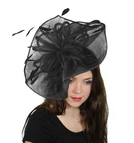 Hats By Cressida Highball Ascot Fascinator Hat Women's With Headband - Black by Hats By Cressida