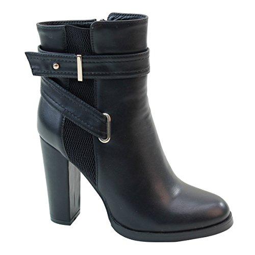 Brieten New Buckle Chunky Heel Short Boots