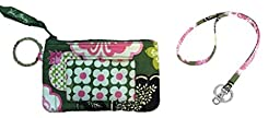 Vera Bradley Zip Id Case and Lanyard in Olivia Pink