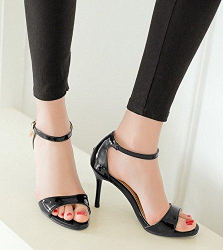 Aisun Women's Stylish Patent Leather High Stilettos Sandals Black fjcJX