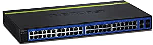 TRENDnet 48-Port 10/100/1000 Mbps Gigabit Web Smart Switch with 4 shared SFP Slots, Private & Voice VLAN Support, IPv6, Fanless, Rack Mountable, TEG-448WS