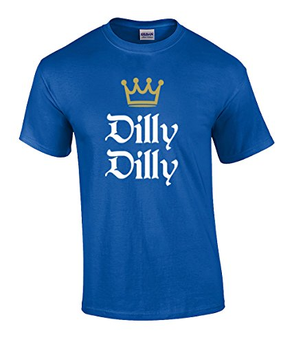 Funny Beer Drinking Dilly Dilly King Crown Outline Short Sleeve T-Shirt-Royal-XL
