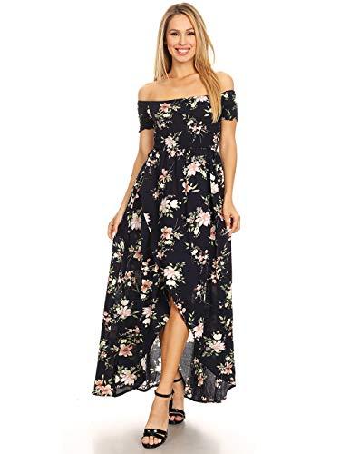 Anna-Kaci Women's Casual Floral Smocked Long Off Shoulder Hi-Lo Long Maxi Dress,Navy,Large